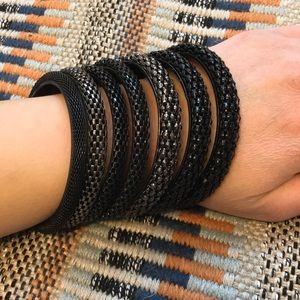 Jewelry - Black Grey 7 Piece Bangle Set Fashion Chunky